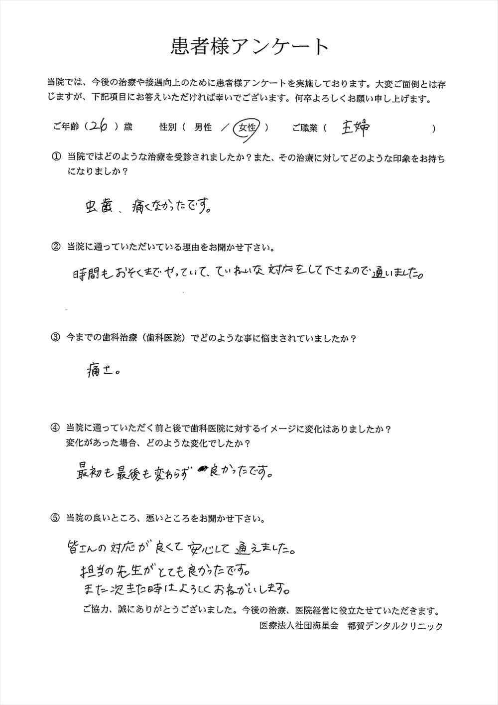 都賀デンタルクリニックの口コミアンケート2