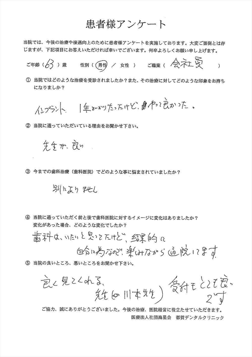 都賀デンタルクリニックの口コミアンケート6
