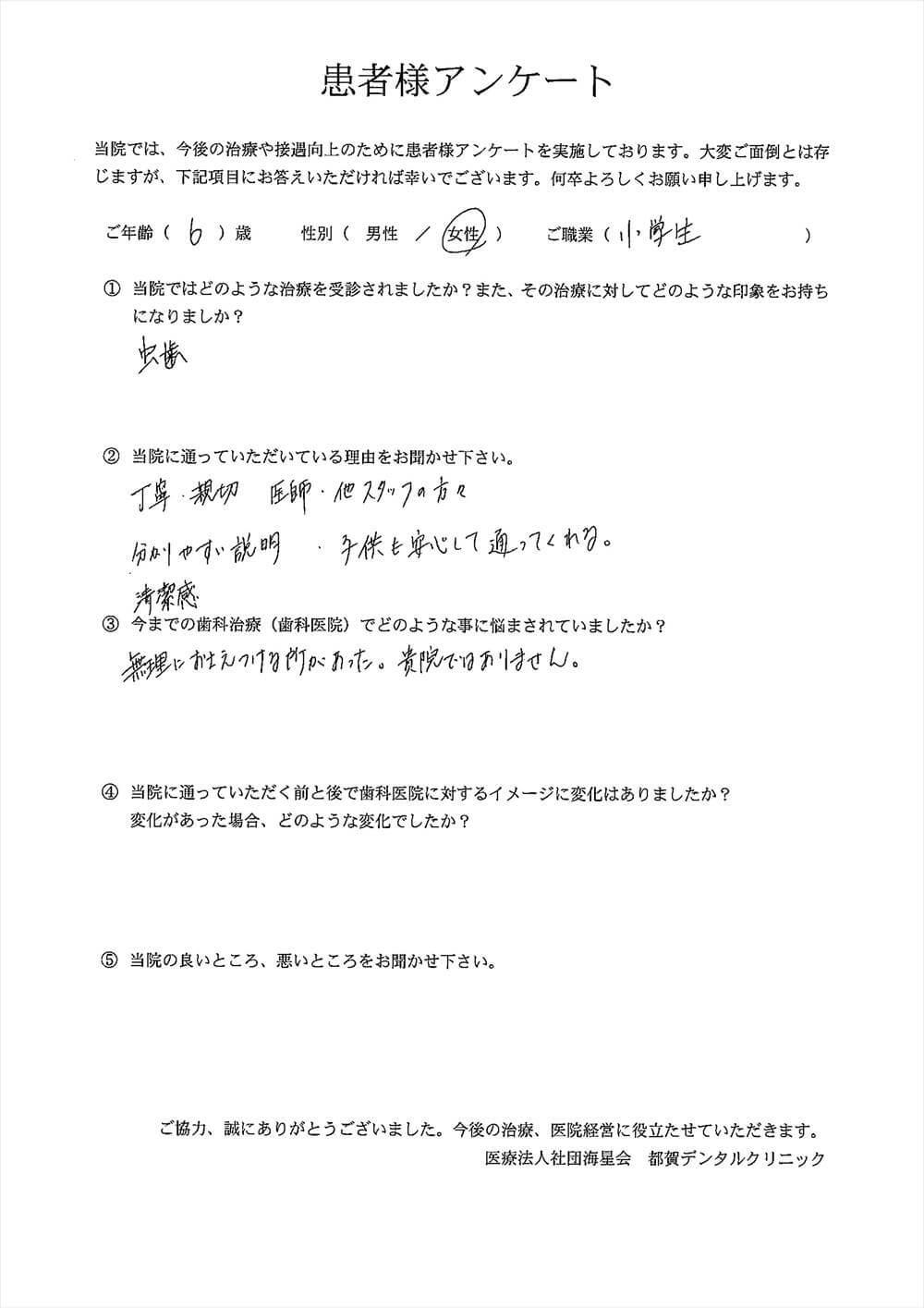 都賀デンタルクリニックの口コミアンケート9