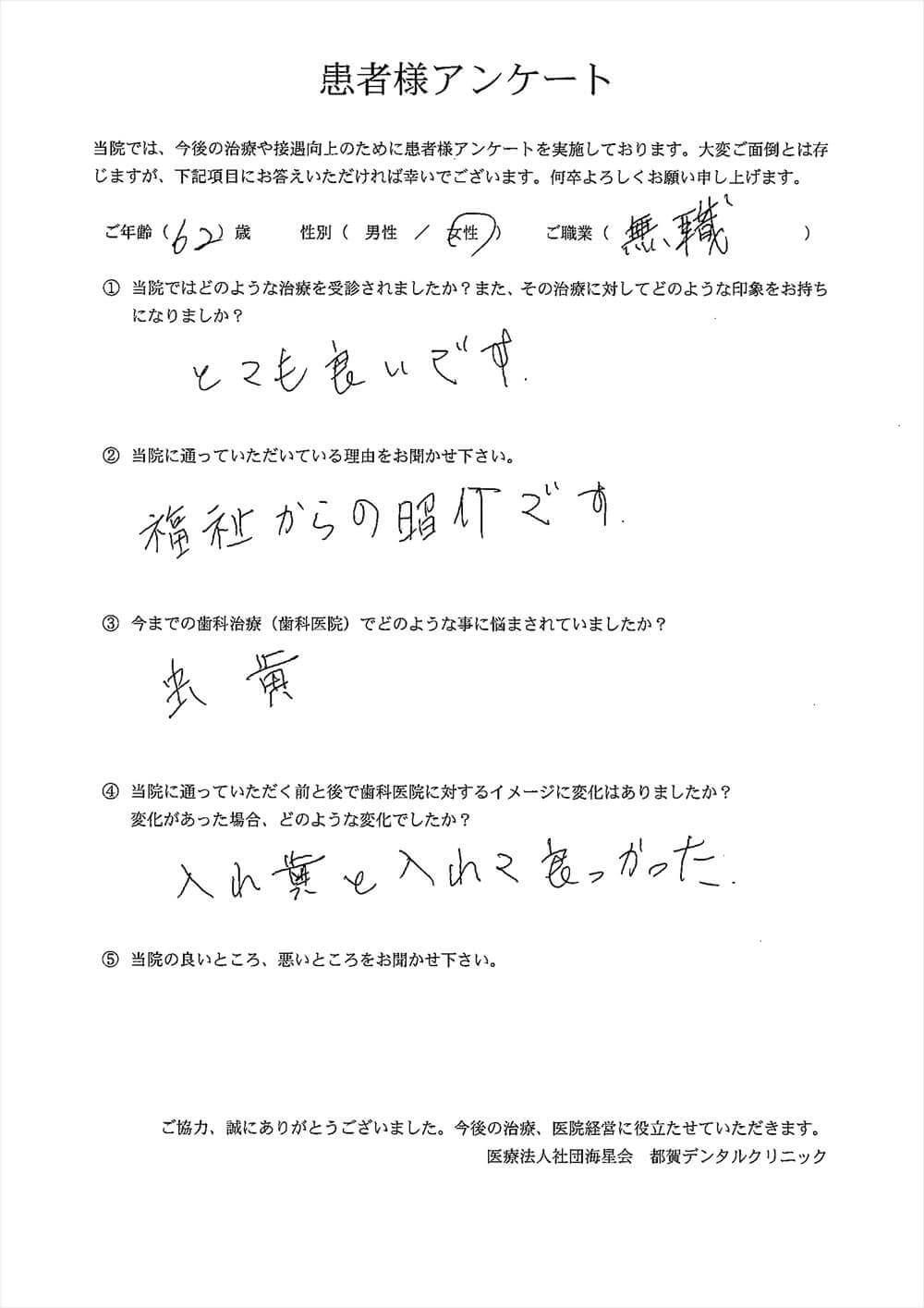 都賀デンタルクリニックの口コミアンケート10